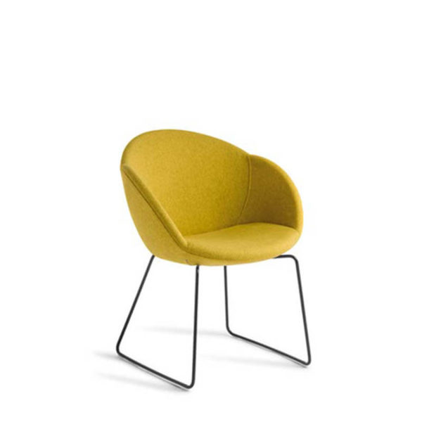 Yellow chair on black sled base