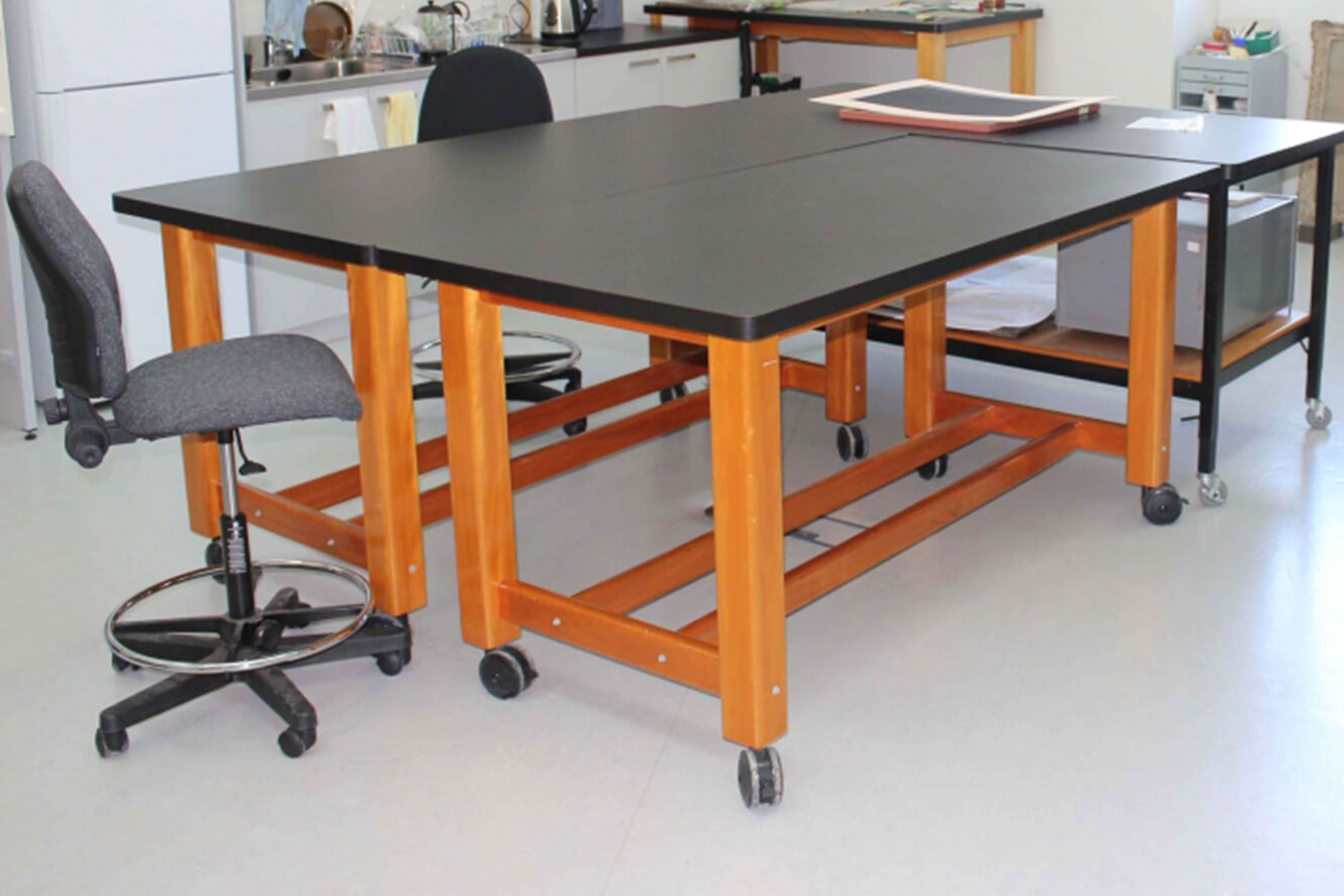 Lab tables with grey chairs