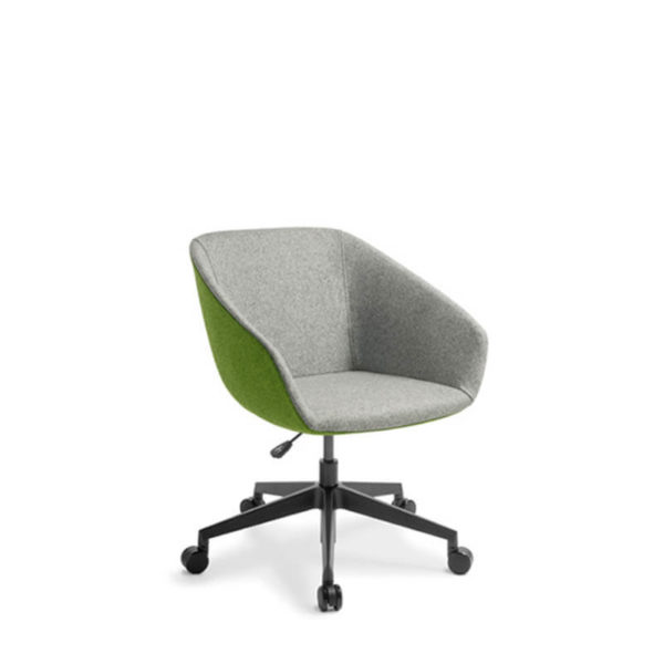 Grey chair with black swivel base on castors