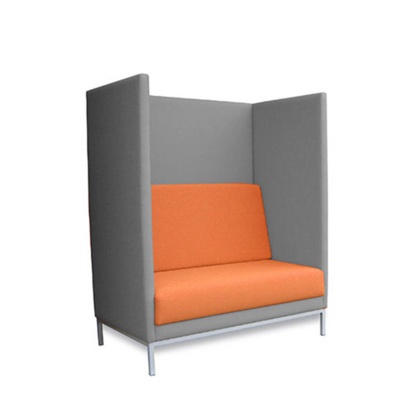 Grey booth seat with orange seat and back