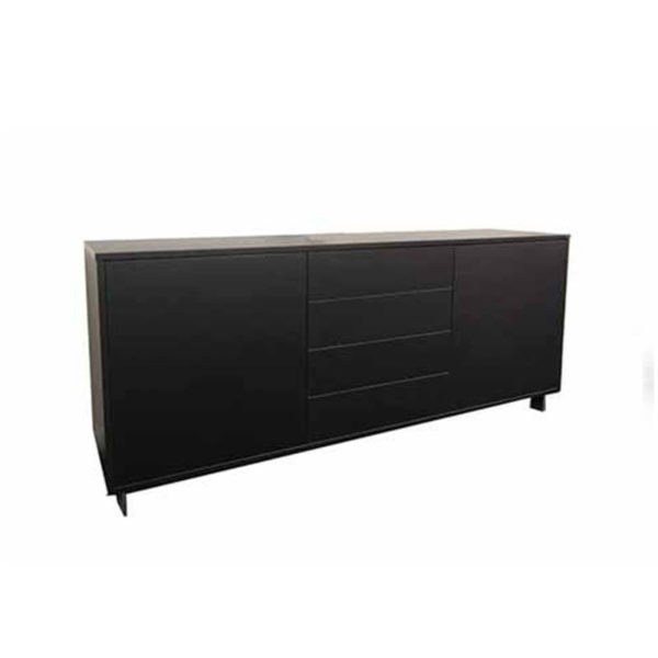 Black credenza with cupboard and drawers
