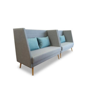 Grey booth seats with blue back cushions