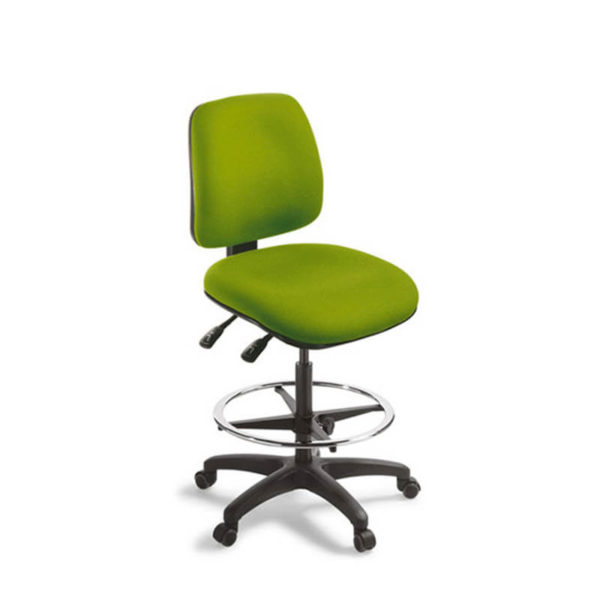 Green chair with high gas lift and foot ring