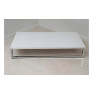 Coffee table white top chrome base