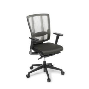 Grey mesh office chair with arms