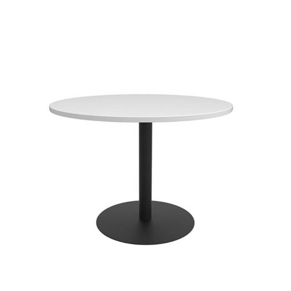 White round table with black base