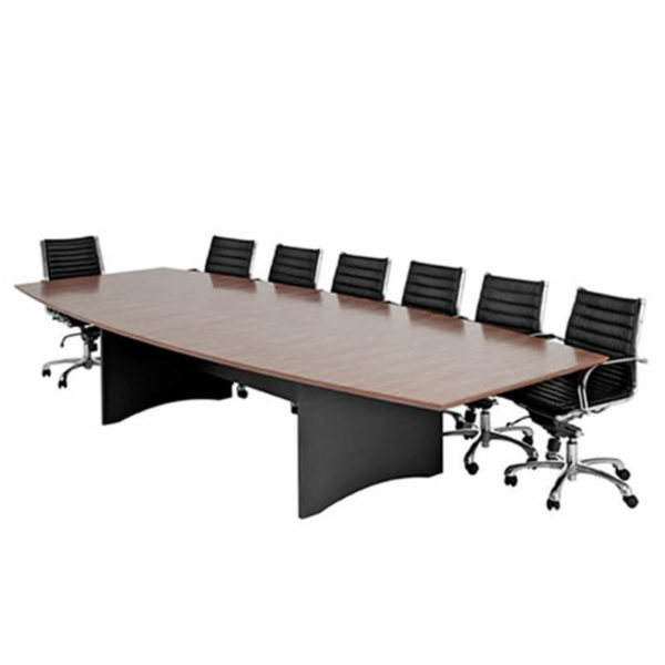 Timber and black boardroom table with black chair