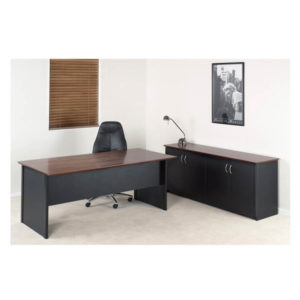 Executive desk black and timber