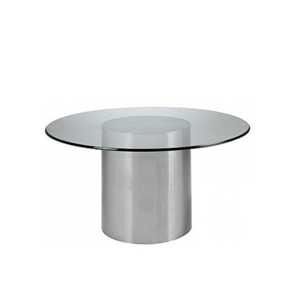 Stainless steel round with glass top