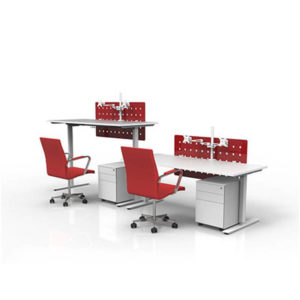 Sit stand desks white with red screens and chairs