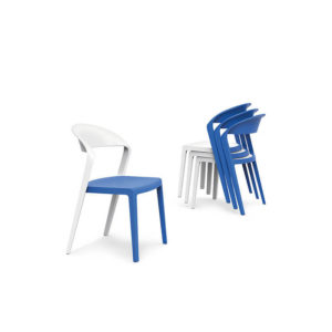 Blue and white chairs stacked