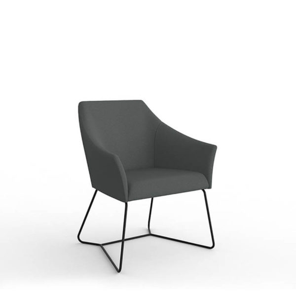 grey fabric seat with black sled base