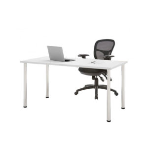White desk chrome legs