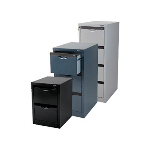 Grey, blue and black filing cabinet