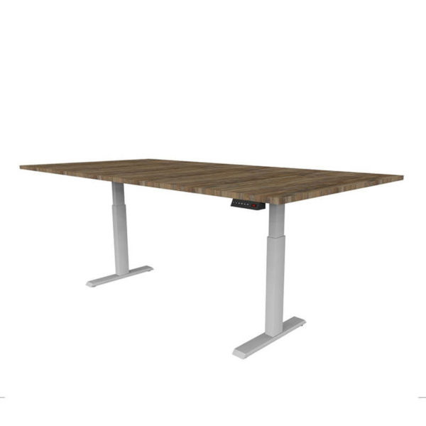 Timber melamine table top with White base