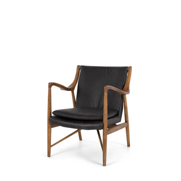 black and timber chair