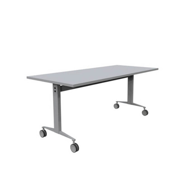 White table with white base on castors