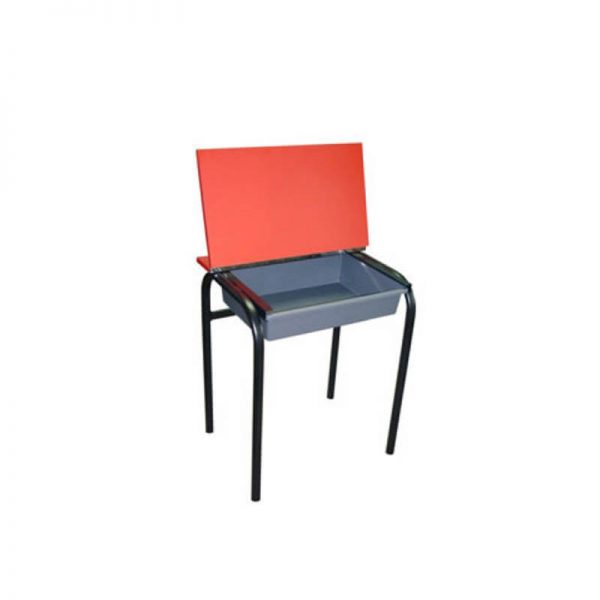 Red desk with tote