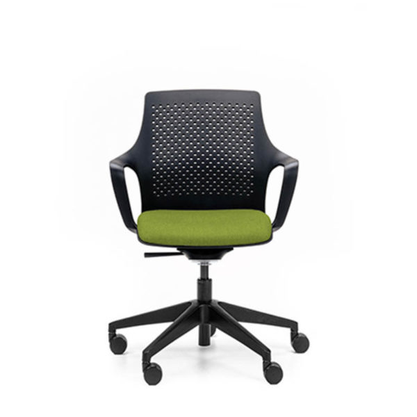 black chair with green seat, black base on castors