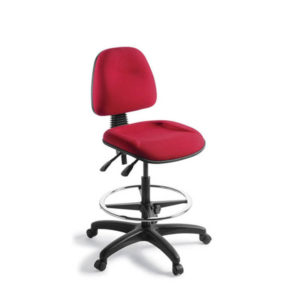 red chair with high gas lift and foot ring