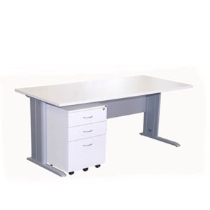 White desk and mobile drawer