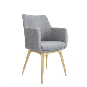 Grey hady chair with timber base angled view