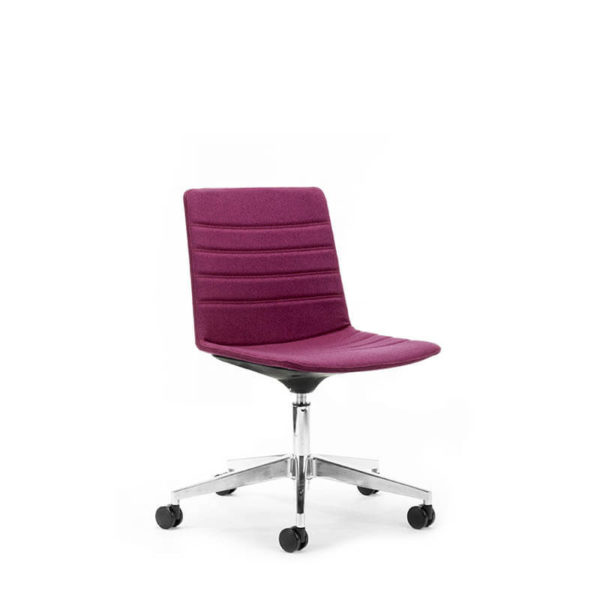Purple chair with polished base on castors