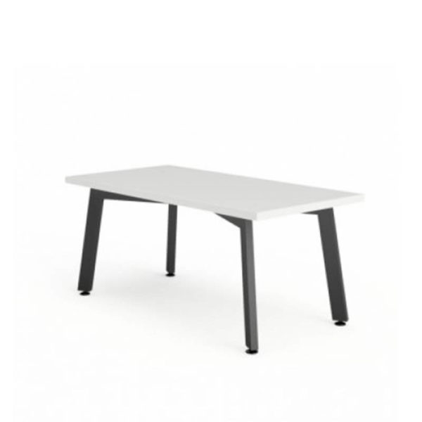 White coffee table with black base
