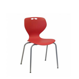 red chair with grey frame