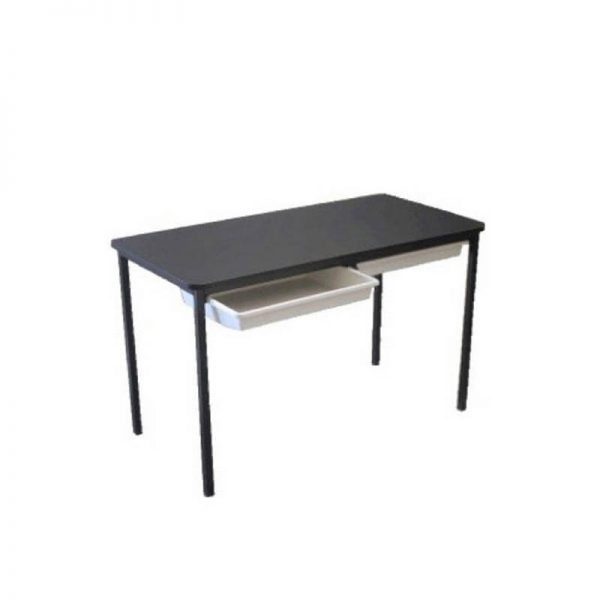 Black desk with grey tote trays