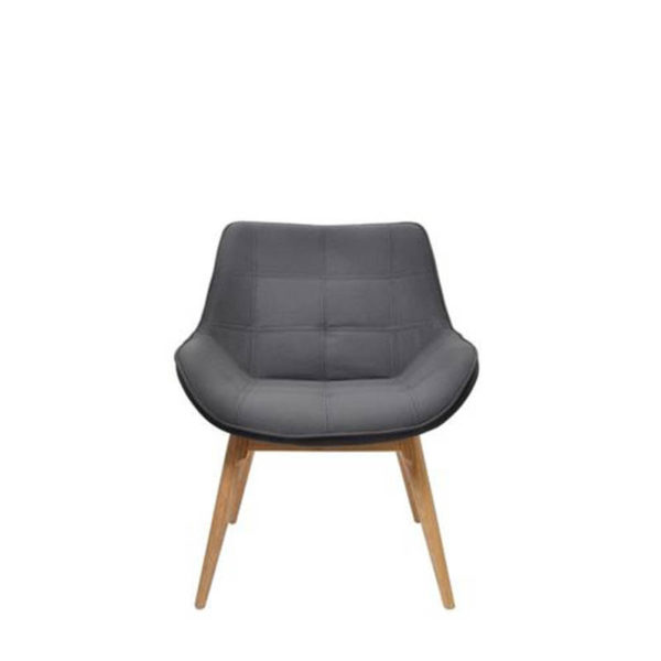 Grey chair with timber base