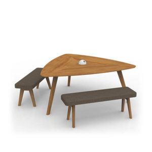 Timber tri table with bench seats