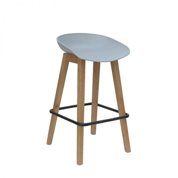 white seat stool with timber legs