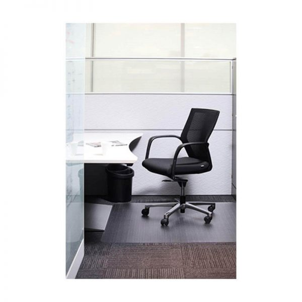 Polycarbonate chair on floor with chair on top