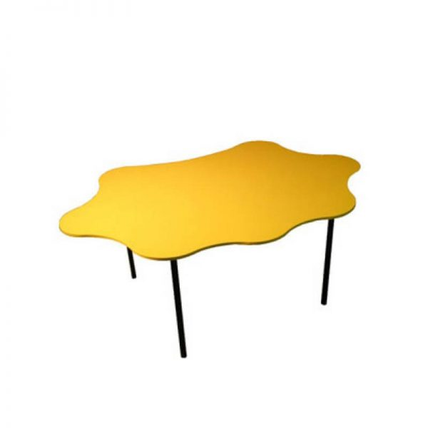 yellow table with black legs