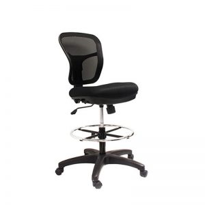 Black office chair with foot rest