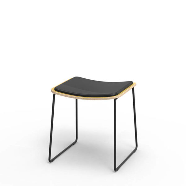 low stool with timber seat, black frame black seat pad