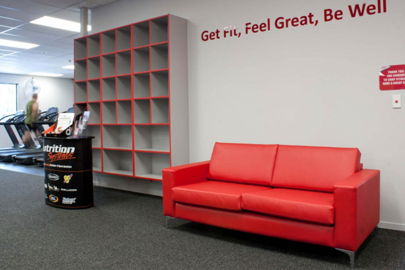 red sofa and storage unit