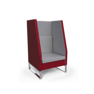 Red and grey booth seat