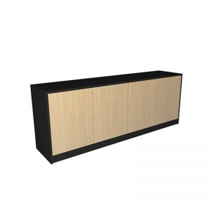 credenza, black with timber doors