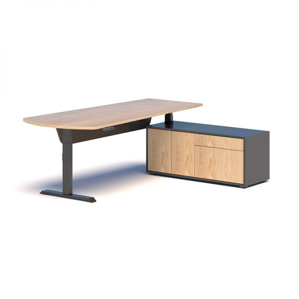 Desk with black frame, timber top, side storage