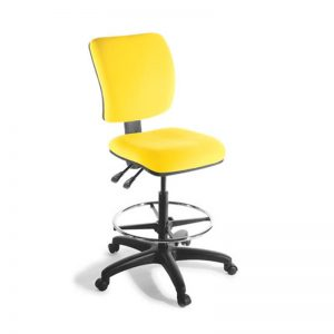 Yellow office chair with foot ring