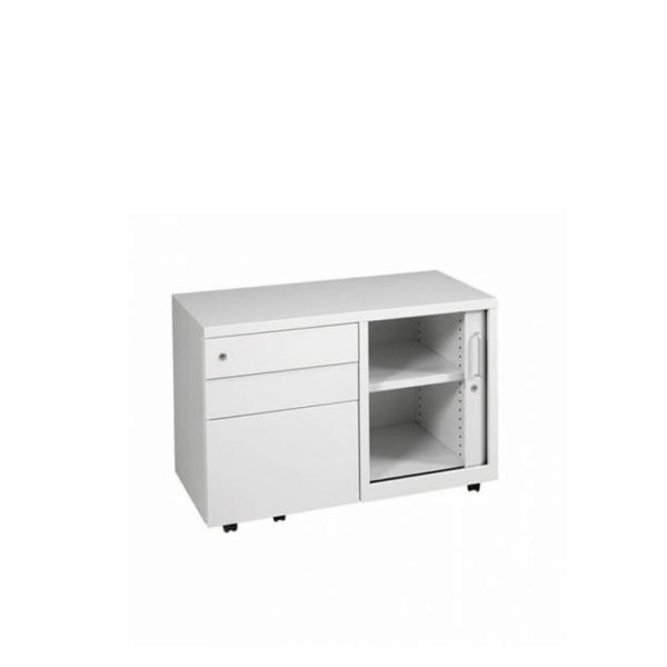 White caddy with drawers and sliding door