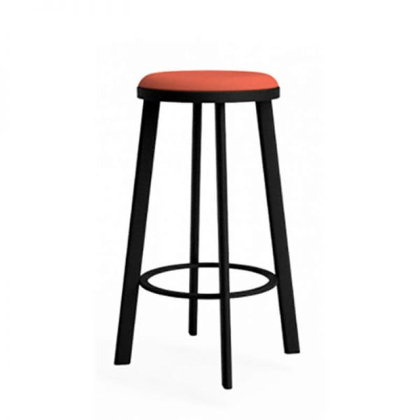 Black stool with orange seat pad