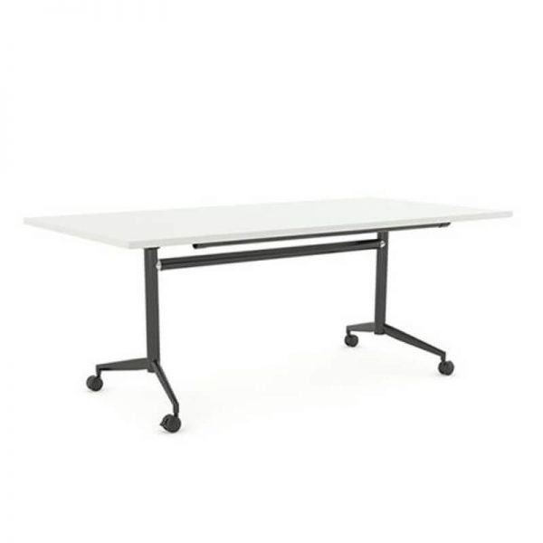 table on castors. White top black base