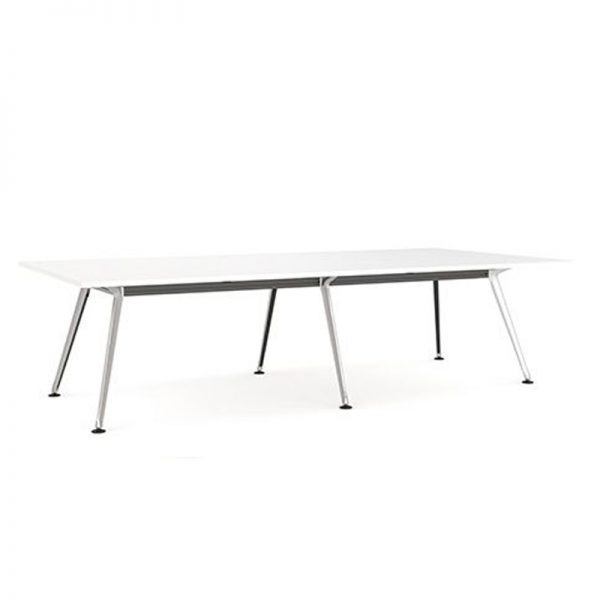 Large Boardroom table with White top, silver legs