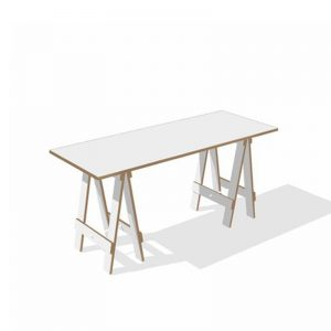 white ply trestle desk