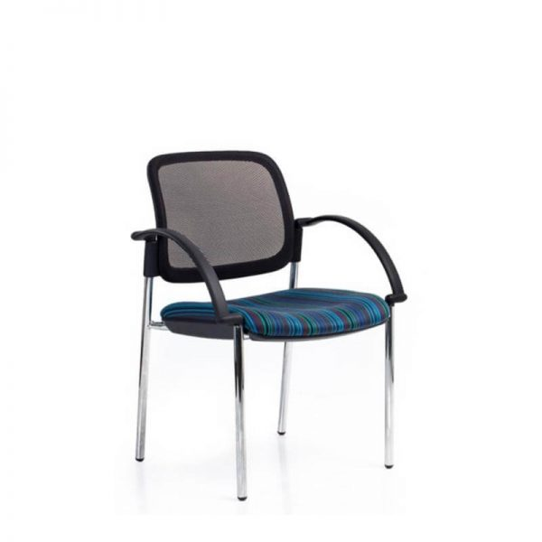 Black mesh visitor chair with blue fabric Seat