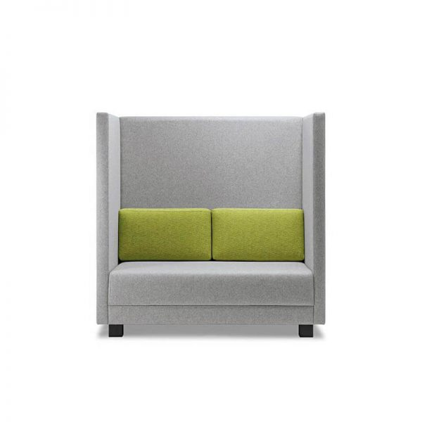 grey booth seat with green back cushions