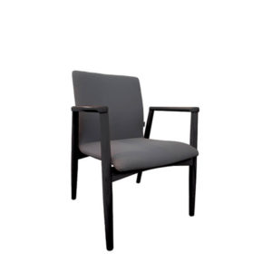 Grey chair with black frame